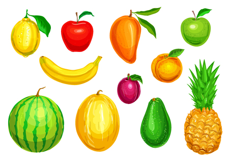 Tropical and garden fruit watercolor set