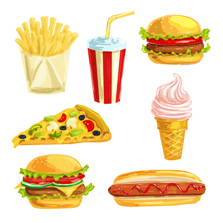 lunch meal: Fast food lunch meal with dessert watercolor set Illustration