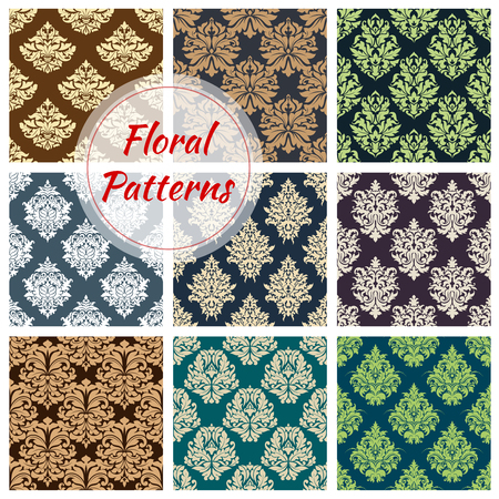 Seamless floral pattern set with damask ornament