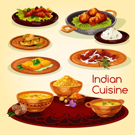 Indian cuisine dinner dishes cartoon menu design Illustration