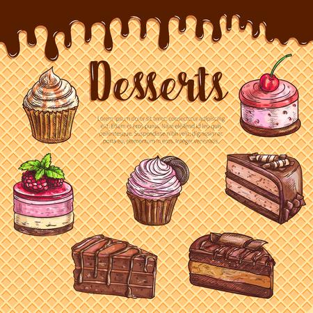 Het dessertaffiche van het cakedessert met chocolade cupcake