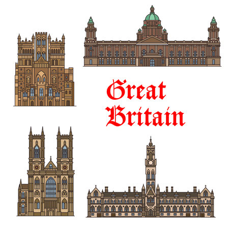 English travel landmark of Great Britain thin icon