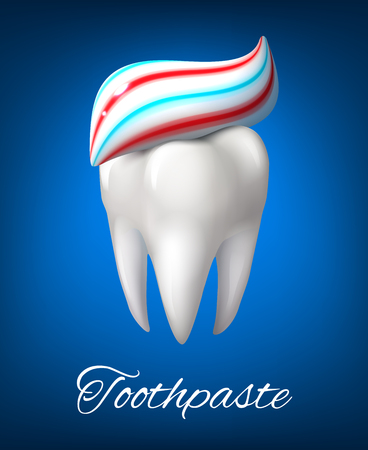 Tooth with toothpaste poster for dentistry design Illustration