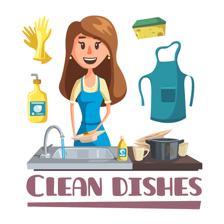 Woman washing dishes by hand in sink poster
