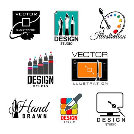 pen and marker: Graphic and web design studio symbol set Illustration