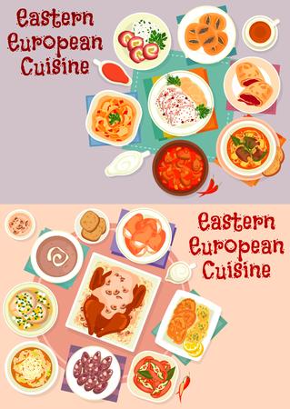 동부 유럽 요리 아이콘 음식 디자인을위한 설정 일러스트