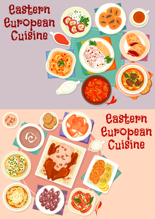 Eastern european cuisine icon set for food design Ilustração