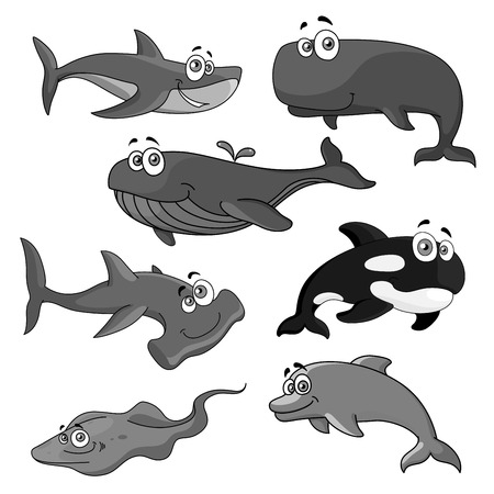 Vector icons of sea ocean fish cartoon animals