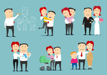 Family life cycle cartoon character set. Single man dreaming about family, dating, newly married couple, happy family with newborn, pregnant woman with husband and son expecting a second child Illustration