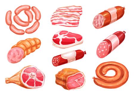 ソーセージと肉製品水彩描画設定