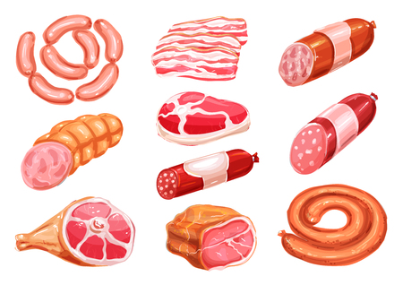 Meat product watercolor drawing set with sausage Illustration