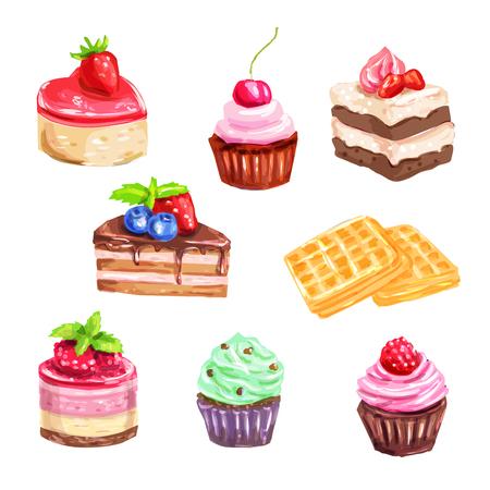 水彩のデザートのケーキやお菓子のセット  イラスト・ベクター素材