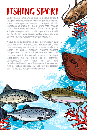 Fishing sport sketch poster with sea fish