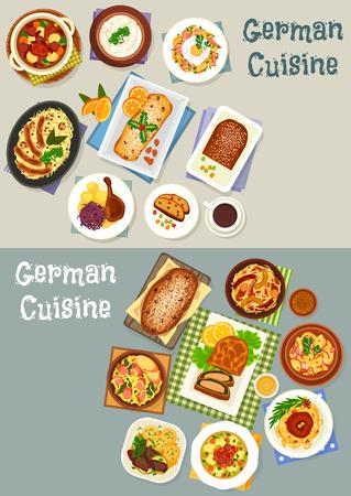 German cuisine festive dinner icon set design Illustration