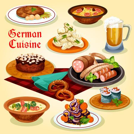 German cuisine national dishes cartoon icon Illustration