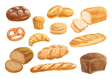 Bread and bakery product watercolor drawing set