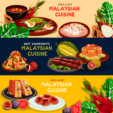 Maleisische keuken en Aziatische voedsel banner set Stock Illustratie