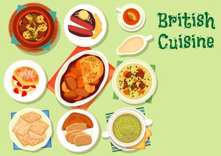 Britse keuken gezond voedsel icoon voor lunch design
