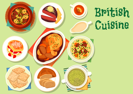British cuisine healthy food icon for lunch design Illustration