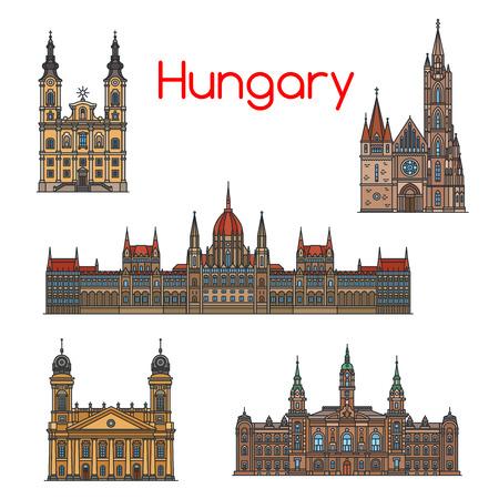 ハンガリー旅行ランドマーク細い線アイコンを設定  イラスト・ベクター素材