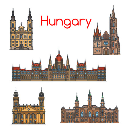 Hungarian travel landmark thin line icon set Ilustrace