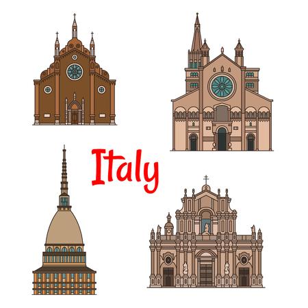 이탈리아 여행 랜드 마크 건물 아이콘 집합