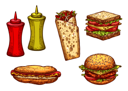 Fast food burger and sandwich sketch set Illustration