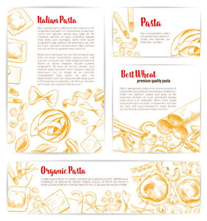 Italian pasta, natural organic macaroni product poster and banner template. Spaghetti, penne, farfalle, ravioli, lasagna and fusilli. Italian cuisine restaurant web banner, food packaging design