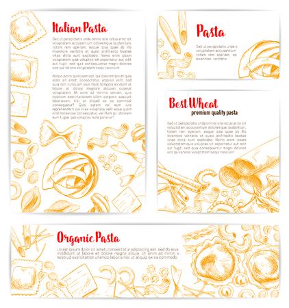 Italian pasta, natural organic macaroni product poster and banner template. Spaghetti, penne, farfalle, ravioli, lasagna and fusilli. Italian cuisine restaurant web banner, food packaging design