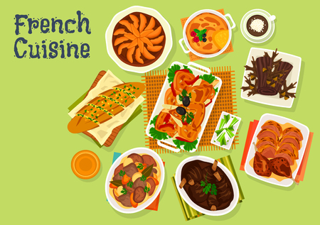 French cuisine festive dinner menu icon of baguette baked with garlic oil, chicken with tomato, meat vegetable stew, baked lamb, cake chocolate log, duck confit, apple pie, creme brulee dessert Illustration