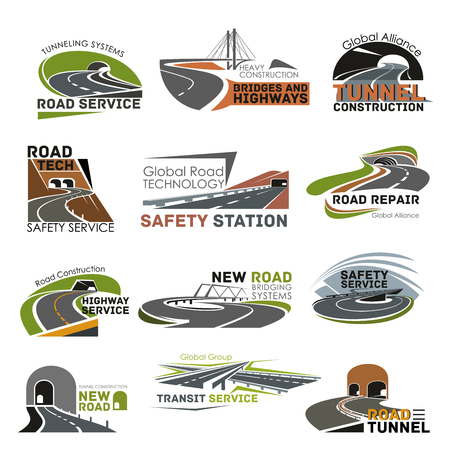Road construction isolated icon set. Road bridge and tunnel building, highway interchange safety service, road repair technology symbol for development and construction company, transportation design