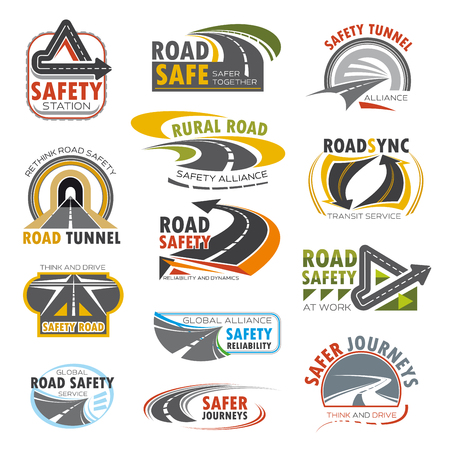 Road highway, traffic safety and transportation service icon set. Rural and mountain road, turn of speed highway, asphalt freeway, crossroad and tunnel isolated symbol for road themes design Illustration