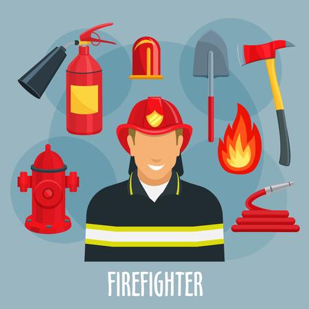 消防士や消防士の職業アイコン。赤いヘルメットと制服の消防士消防士火災ホース、火炎、消火器、消火栓、シャベル、斧、救助および緊急時サー