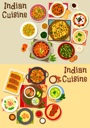 Indian cuisine healthy dinner icon set with chicken, fish and chickpea curry with rice, vegetable salad, lentil and tomato chutney, chilli potato stew, spinach, cheese, corn soup, fruit cream dessert
