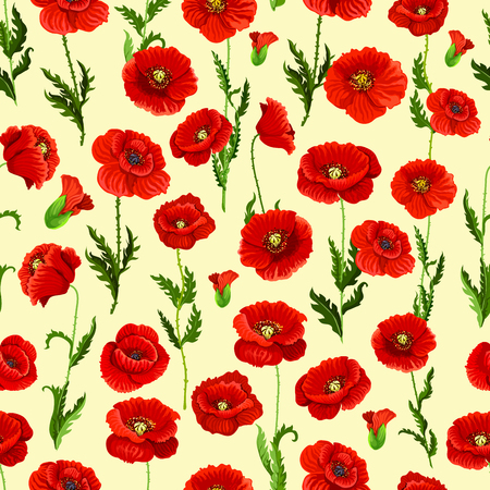 Spring flower field seamless pattern background