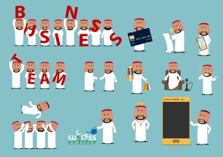 Successful arab businessman cartoon character set Çizim