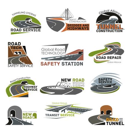 Road en snelweg constructie pictogram set Stockfoto - 78265941