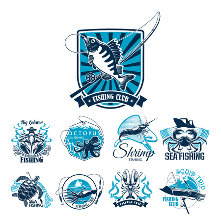 Fishing sport club badge set with fish and boat
