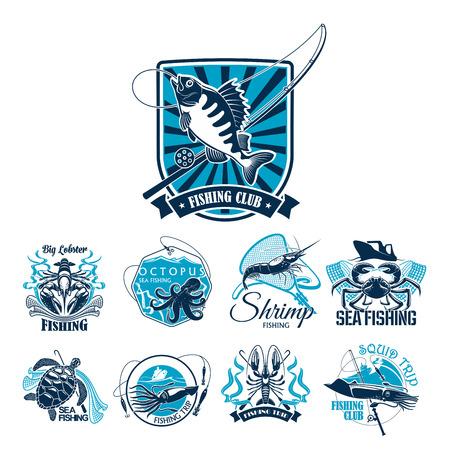 Visserij sportclub badge set met vis en boot