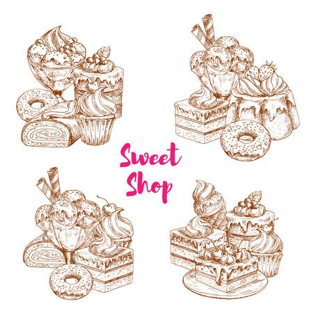 Taart en ijs dessert schets voor voedsel ontwerp Stock Illustratie