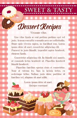 デザート レシピ ポスター テンプレート ケーキ ドーナツ