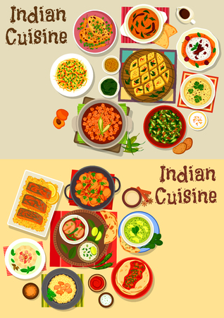 Indian cuisine healthy dinner icon set design