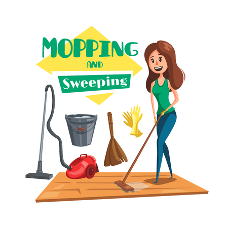 House mopping and sweeping vectro poster Illustration