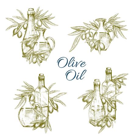 Olive oil bottles vector sketch icons set Ilustração