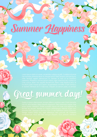 Summer flowers bouquet greeting vector poster