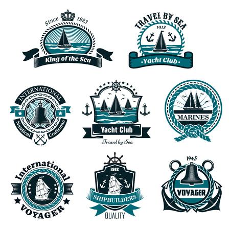 Nautical icons and vector marine symbols set Illustration