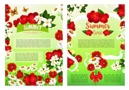 Té fleurir fleurs vecteur vacances affiche Banque d'images - 79001206