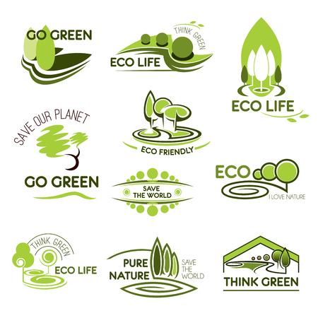 エコ自然と緑の生態学ベクトルのアイコンを設定