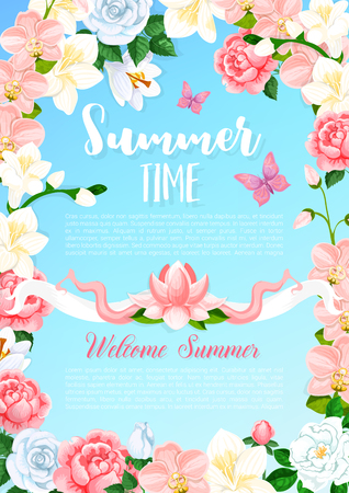 Summer time flowers greeting vector poster Ilustracja