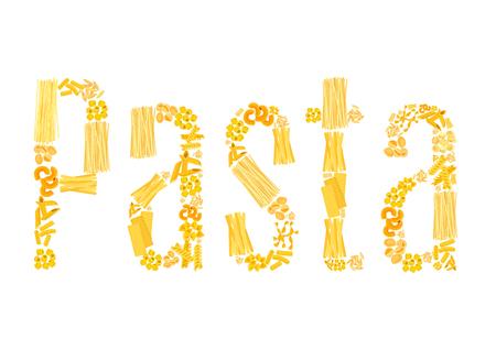 Vector text of pasta for Italian restaurant Illustration